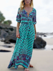 Cyan V-neck Floral Button-down Maxi Dress