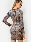 Leopard Cut Out Round Neck Long Sleeves Dress