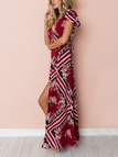 Red Random Floral Print  Self-tie Waist V-neck High Slit Maxi Dress