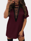 Casual Lace Up Short Sleeves Mini Dress In Burgundy