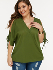 Plus Size Army Green Self-tie Design Cold Shoulder Blouse
