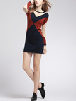 Color Contrast Knitted Sweater Dress