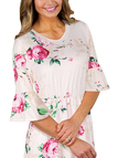 Pink Floral Print Round Neck Flared Sleeves Midi Dress