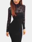 Black Party Lace Insert Midi Dress With Perkins Collar