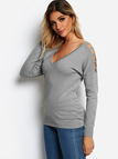 Grey V-neck Long Sleeves Cut-out Design Sweater