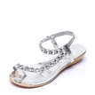Silver Jewelry Embellished Flat Sandals