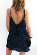 Navy Polka Dot Overlay Slip Mini Dress
