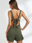Army Green Backless Pleated Design Playsuit