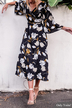 Fashion Random Floral Print V-neck Open Back Maxi Dress with Belt