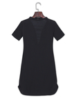 Black Fashion Lace-up Front Mini Dress With Short Sleeves