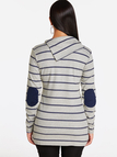 Grey Button Design Stripe Asymmetrical Long Sleeves Sweatshirts