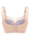 Plus Size Nude Embroidery Gather Full Cup Wireless Bra