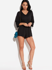 Black 3/4 Length Sleeves Lace-up Design Stretch Waist Playsuit