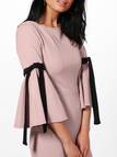 Pink Lace-up Design Round Neck Bell Sleeves Dress