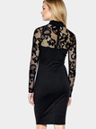 Black Lace Insert Long Sleeves High Neck Bodycon Dress