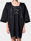 Casual Loose Fit Hoodie Mini Dress with 1/2 Length Sleeves