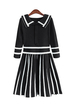 Black Doll Collar Stripe Pleated Knitted Dress