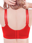Plus Size Red Embroidery Gather Full Cup Wireless Bra
