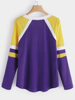 Purple Lace-up Design Round V-neck Long Sleeves T-shirts