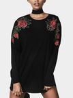 Black Rose Embroidered Pattern Round Neck Long Sleeves Sweatshirt