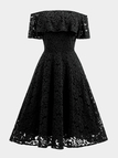Black Lace A Line Off The Shoulder Short Sleeves Dresses
