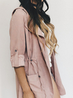 Dusty Pink Suede Lapel Collar Trench Coat