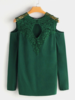 Green Lace Details Plain Cold Shoulder Long Sleeves T-shirts