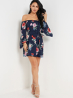 Sexy Off Shoulder Random Floral Print Dress in Dark Blue