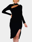 Black Sexy Long Sleeves Side Slit Dress with Cut Out Design