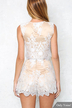White Crochet Lace Strap Tie Front Sleeveless Sexy Co-ord
