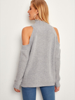 Grey Cold Shoulder Plain High Neck Long Sleeves Sweaters