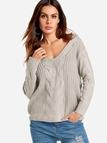 Grey V-neck Long Sleeves Causal Loose Jumper
