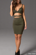 V Neck Cutout Sleeveless Bodycon Mini Dress