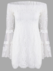 White Off Shoulder Bell Sleeves Stitching Lace Dress
