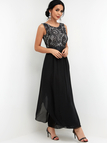 Black Lace Insert Round Neck High-waisted Maxi Evening Dress