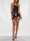 Black Random Floral Print Bow Details Mini Dress