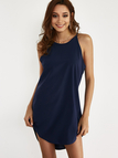 Navy Simple Sleeveless Mini Dress