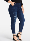 Plus Size Blue Pocket Ripped Skinny Jeans