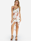 White Crossed Front Design Random Floral Print V-neck Sleeveless Midi Dress