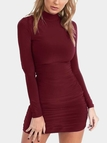 Wine Red Pleated Design High Neck Long Sleeves Bodycon Dress
