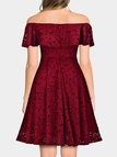 Burgundy Lace Details A Line Off The Shoulder Short Sleeves Dresses