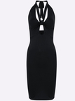 Black Halter & Backless Midi Dress With Cut Out Design