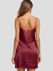 Burgundy Lace Insert Satin Cami Nightdress