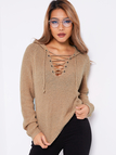 Khaki Hooded Design Lace Up Details V-neck Long Sleeves Sweaters