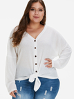Plus Size White Self-tie Button Front Knit Sweater