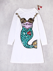 White Animal Sequins Round Neck Long Sleeves Dresses