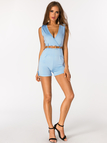 Sky Blue Crossed Front Design V-neck Sleeveless Sexy Playsuit With Belt