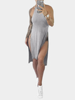 Grey Sexy Slit Design Dress