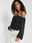 Black Wrap Design Off The Shoulder Long Sleeves Blouse