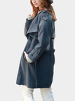 Blue Grey Lapel Trench Outwear with Belt